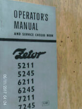 ZETOR TRACTORS MODELS 5211/5245/6211/6245/7211 AND 7234 WORKS  MANUAL 1983
