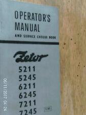 ZETOR TRACTORS MODELS 5211/5245/6211/6245/7211 AND 7234 WORKS  MANUAL 1983