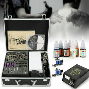 Complet Tattoo Kit de Tatouage 4 Machine Gun à Tatouer 7 Ink Power Supply Neuf