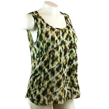 Rafaella Women's Top Size: Medium Sleeveless Tank/Blouse Green/Blue/Rust print