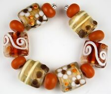 13pcs Lampwork Glass Beads Handmade Brown White Flower Spacer Rondelle 15mm