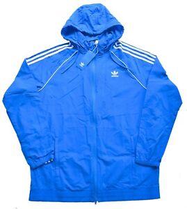 New Medium M Adidas Mens Hooded Superstar Windbreaker Jacket Top Blue Track