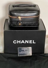 CHANEL Leather Vanity Case Black / F175