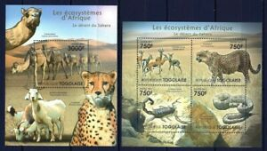 TOGO 2011 LES ECOSYSTEMES D'AFRIQUE DESERT SAHARA WILD ANIMALS CHITA STAMPS MNH