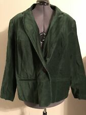 NY COLLECTION Woman Velour Velvet One Button Blazer Forest Green Size 2X @LOOK@