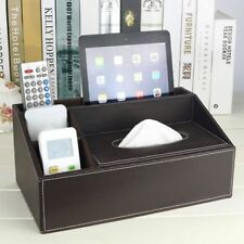 Tissue Box PU Leather Multi functional Napkin Holder Remote Controller Storage