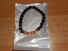 Bracelet perles Noires 8 mm porte bonheur + 4 perles beige rosé ZEN Mala chakra