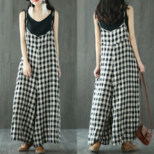 AU 8-24 ZANZEA Women Wide Leg Check Jumpsuits Casual Loose Long Pants Trousers