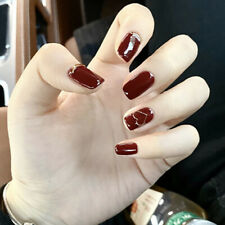 24pcs Red Fake Nails Art Tips Nail False Full Cover Manicure Decor With Gl Dr