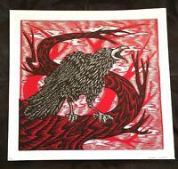 Dennis Mcnett Signed Crow in Tree Silkscreen Print Limited Edition 34/45 Wolfbat