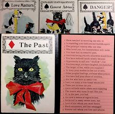 c1897 Black Cat Fortune Telling Playing Cards Cartomancy Divination Deck Only