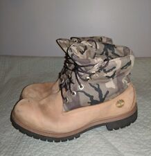 RARE VINTAGE TIMBERLAND LEATHER CAMO CANVAS 9.5 M MEN'S WORK BOOTS CAMOUFLAGE