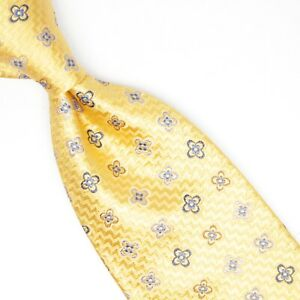 Gregory Mens Silk Necktie Yellow Gold Blue Floret Weave Woven Tie Made in Italy