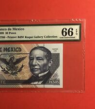 MEXICO- 1999 - 20 PESOS BANKNOTE,GRADED BY PMG GEM UNCIRCULATED 66 EPQ.VERY NICE