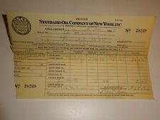 original 1933 Standard Oil Company of New York SOCONY Invoice Receipt 20249 Gas