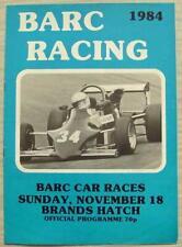 BRANDS HATCH 18 Nov 1984 BARC CAR RACES A4 Official Programme