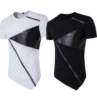 Fashion Men Irregular Cotton Short Sleeve Tee Zipper Slim Fit Top Blouse T-Shirt