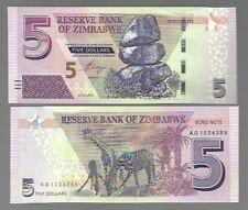 ZIMBABWE 5 DOLLARS, 2016, P-100, UNC BANK NOTE
