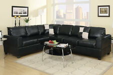 Faux Leather Black 2 Piece Sectional Set Sofa & Loveseat Wedge Living Room Set