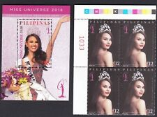 Philippines 2018 Miss Universe Catriona Gray Plate Number Bloc/4 + S/S mint NH