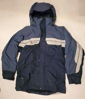 Q4 Columbia Mens Large Core Interchange Grey Blue Winter Coat Jacket W/Fleece M