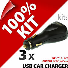 3 x New Kit USB In-Car Charger 12/2V Lighter Socket for Mobile and Smart Phones