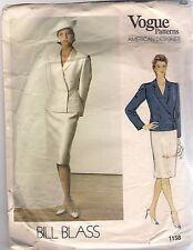 Vogue Designer Sewing Pattern 1158 Bill Blass Vintage Jacket and Skirt, Size 12