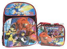 """BIG HERO 6 BACKPACK & LUNCH BOX SET! BLACK RED HEROES SCHOOL BAG TOTE 16"""" NWT"""