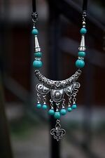 Women's Turquoise Beads Big Pendant Silver Vintage Rope Chain Sweater Necklace