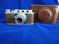ZORKI-1 camera M39 LTM w 50mm F2.8 Industar-22 lens & CASE Tessar Leica FED copy