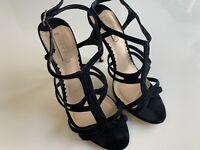 SIREN Black Stilettos Sandal Heels Strappy Mid High Suede Leather 7.5 38 Open