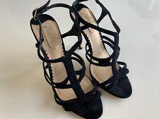d6b40110b9 SIREN Black Stilettos Sandal Heels Strappy Mid High Suede Leather 7.5 38  Open