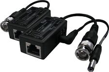 RJ-45 to BNC Converter 1 Pair Passive Video Balun with Power Connectors
