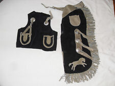 New Little Buck A Roo Med Bk Suede Leather Chaps And Matching Vest Horse Style