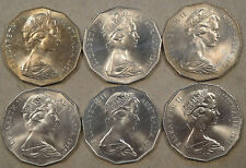 Australia Fifty Cents 1969,70,71,72,74,+77 Better grade coins
