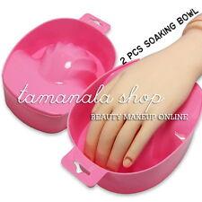 2 x Pink SOAKING SOAK BOWL TRAY NAIL ART ACRYLIC UV GEL TIP SOAKER SALON TOOLS