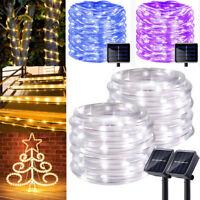 50-200 LED Solar Powered Rope Tube Fairy String Lights Outdoor Garden Xmas Lamp