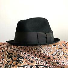 Vintage 1960s 1950s Royal Stetson Stingy Brim Fedora Hat Don Draper 60s 7-1/8
