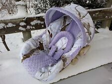 Camo Infant Car Seat Cover, RealTree Snow fabric and Lavender Minky