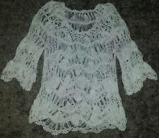 BEAUTIFUL SOFT Women's Sioni Open Weave White Crochet Top~Scalloped Edges~ XS/S