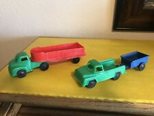 Vintage Plastic Trucks & Trailers Lot Of 2 Both 7.5� Long Used Superior Truck St