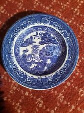More details for vintage adderley ware old willow blue & white shallow bowl / side plate
