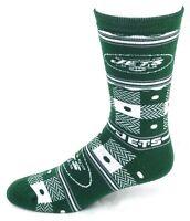 New York Jets Football Green White Quilt Plaid Crew Socks