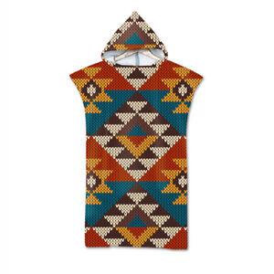 BOHO Aztec Geometric Triangles Diamonds Hooded Bath Swim Beach Towel Poncho Gift