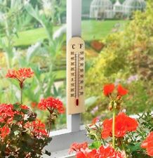 "11"" 28cm WOODEN THERMOMETER OUTDOOR INDOOR GREENHOUSES CONSERVATORIES DEG C & F"