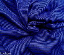 Wool Blend Jersey Knit Fabric by the Yard Yarn Dye Stripe Royal Black