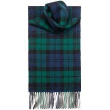 For Womens Royal Stewart 100% CASHMERE Scarf Green Tartan Check Plaid SCOTLAND