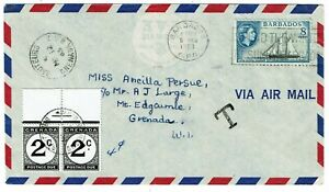 Grenada 1963 incoming cover from Barbados, short paid, postage due affixed