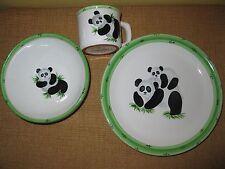 3 PRESENT TENSE CHILD'S*DINNER SET*ANNE HATHAWAY*Panda Bear*cup bowl plate