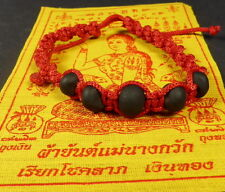 Buddha 'MALA BEAD' Blessed RED BRACELET REAL LEK NAM PEE THAI MAGIC STEEL